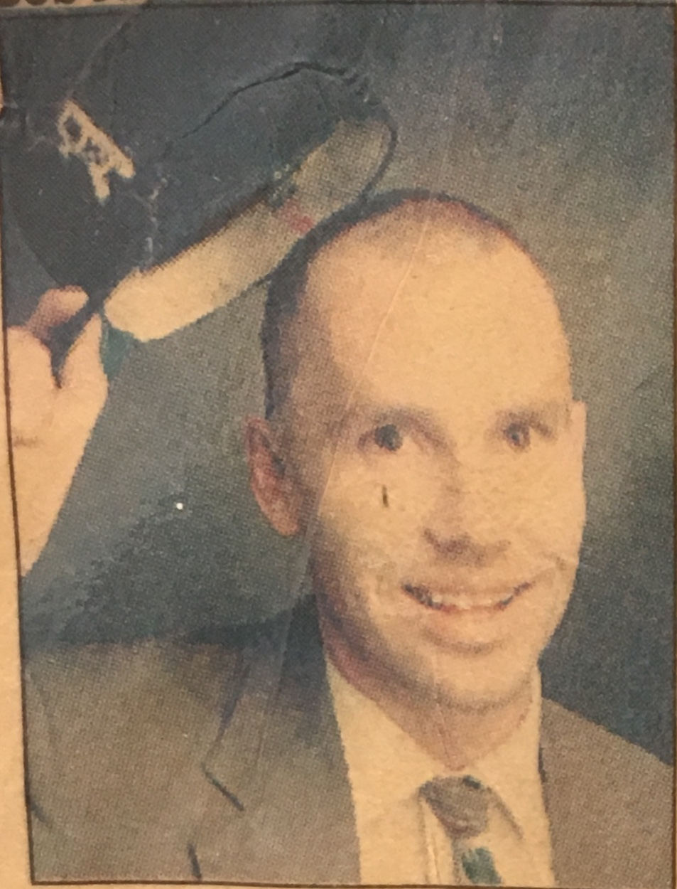 Philip Roiko in 1993 after he shaved his head in celebration for the girls soccer team winning the state championship.