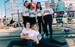 JV softball team before playing a home game. Top row left to right: Jasmine Cofield,  Maria Vanetti, Joy Kemp, Paige Uebelhoer. Bottom row left to right: Jordana Aleman, Penelope Aleman.