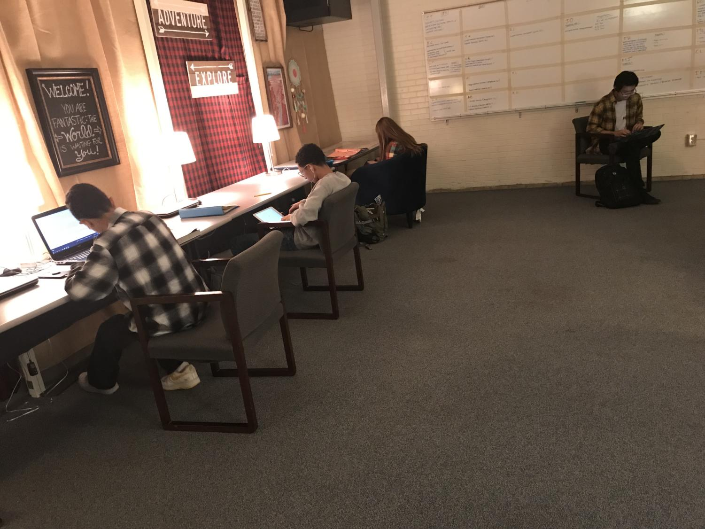 Students study hard in the Kadet Center.