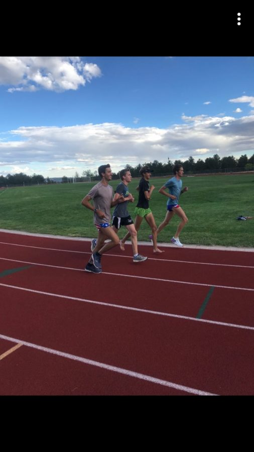 Kadet Cross Country seniors jogging to cool down after a workout. (Left to Right) Matthew Mettler, Matthew Storer, Eathan Abbs, Justin Banta