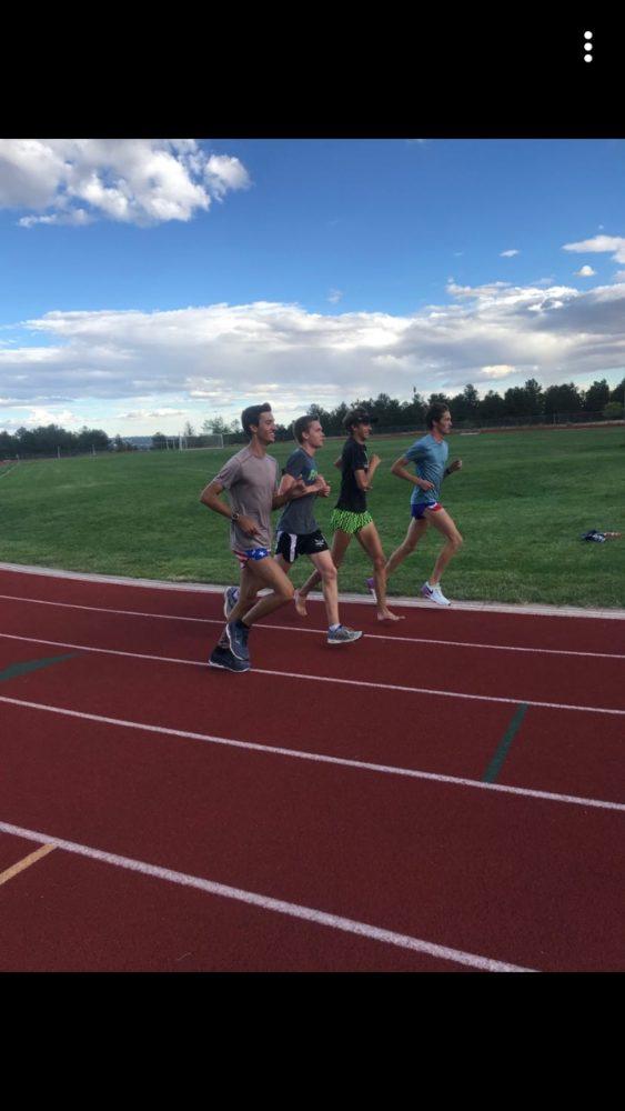 Kadet Cross Country seniors jogging to cool down after a workout. (Left to Right) Matthew Mettler, Matthew Storer, Eathan Abbs, Justin Banta