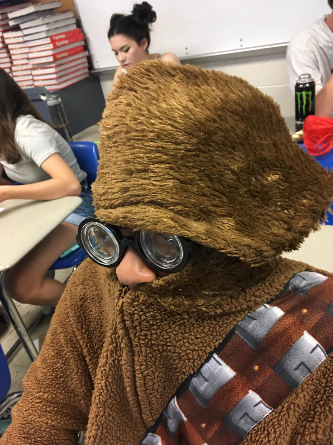 Isaac Whitaker shows off his spirit day swag, dressing up as a Wookie.
