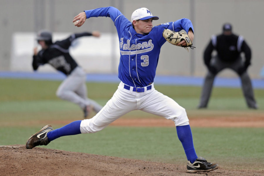 Air Force Academy pitcher Alex Truesdale delivers a pitch during an April game against UNLV