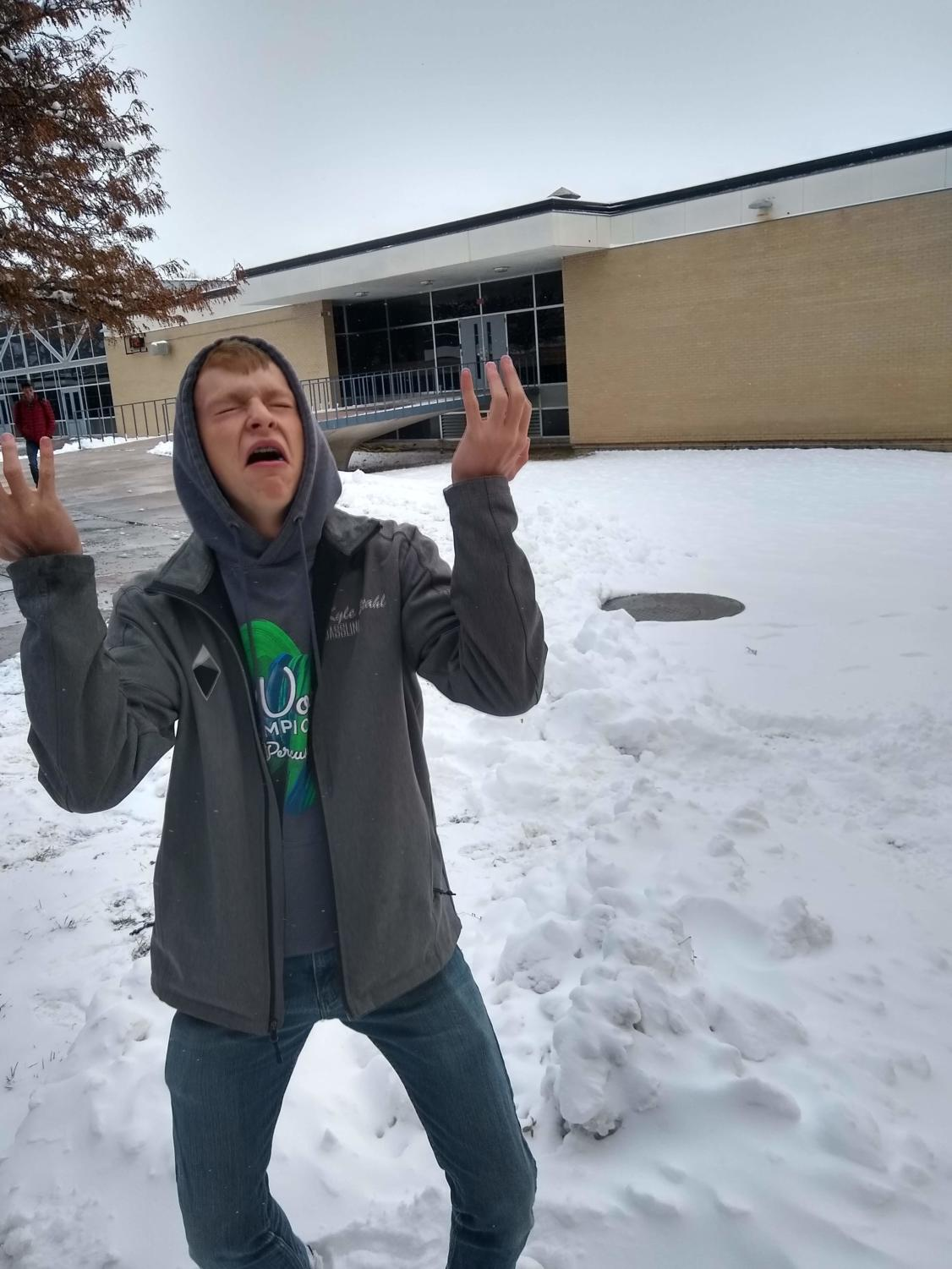 Junior Kyle Stahl grieves in the aftermath of the huge snowstorm days before his favorite holiday, Halloween.