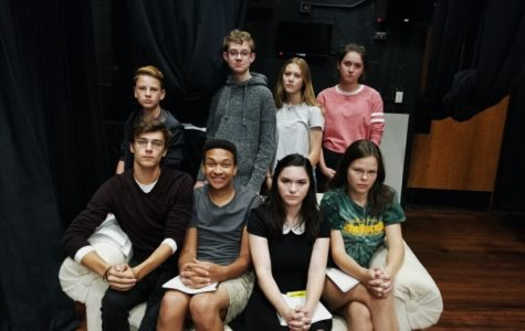 Freshmen Logan Walker  and Joseph Brock, sophomore Samantha VanArsedale, freshman Ella  McCormick, senior Aiden Chesemore, senior Issac Whitaker, senior Audrey Miller, and senior Mary Waterman all sit and share their excitement for the school play.