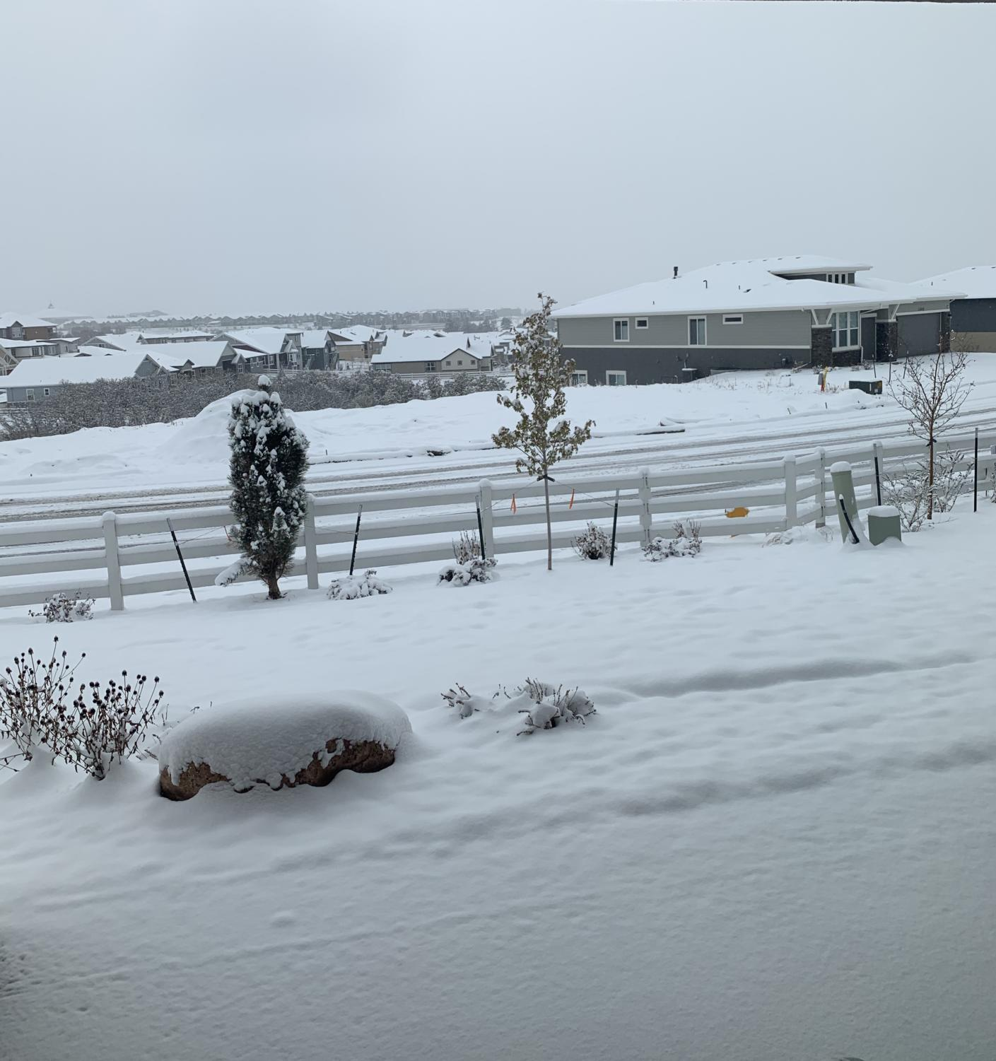 The first big snowfall of the year hits Colorado Springs. causing multiple snow days.