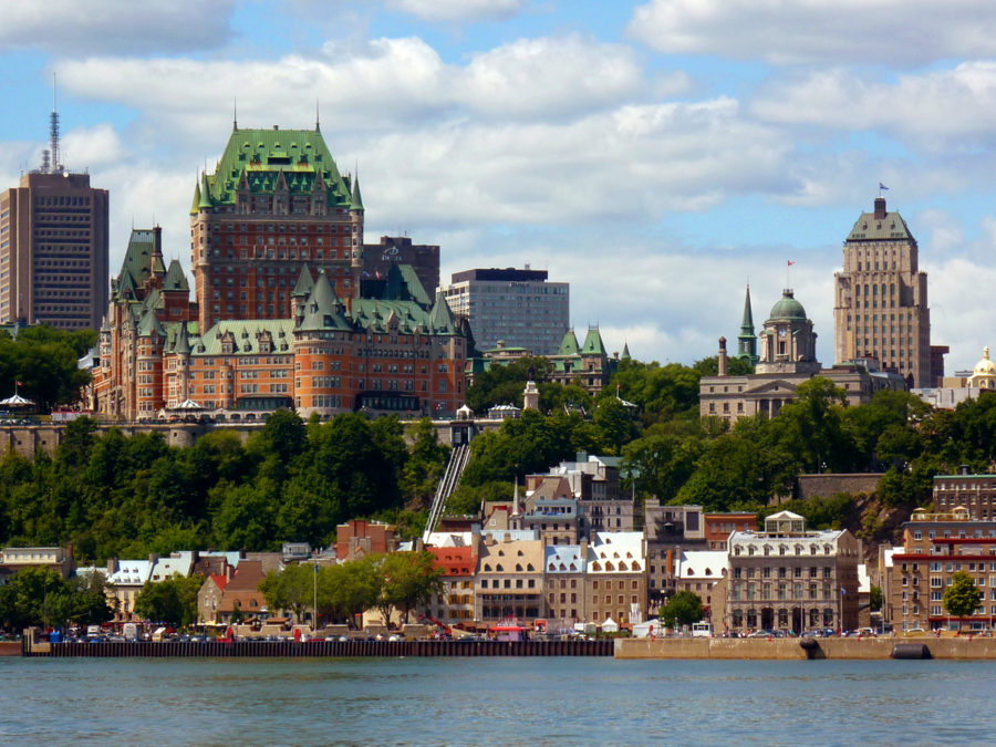 Quebec City has a great view from the shores outside of the city.  Labeled for reuse by Wikipedia.