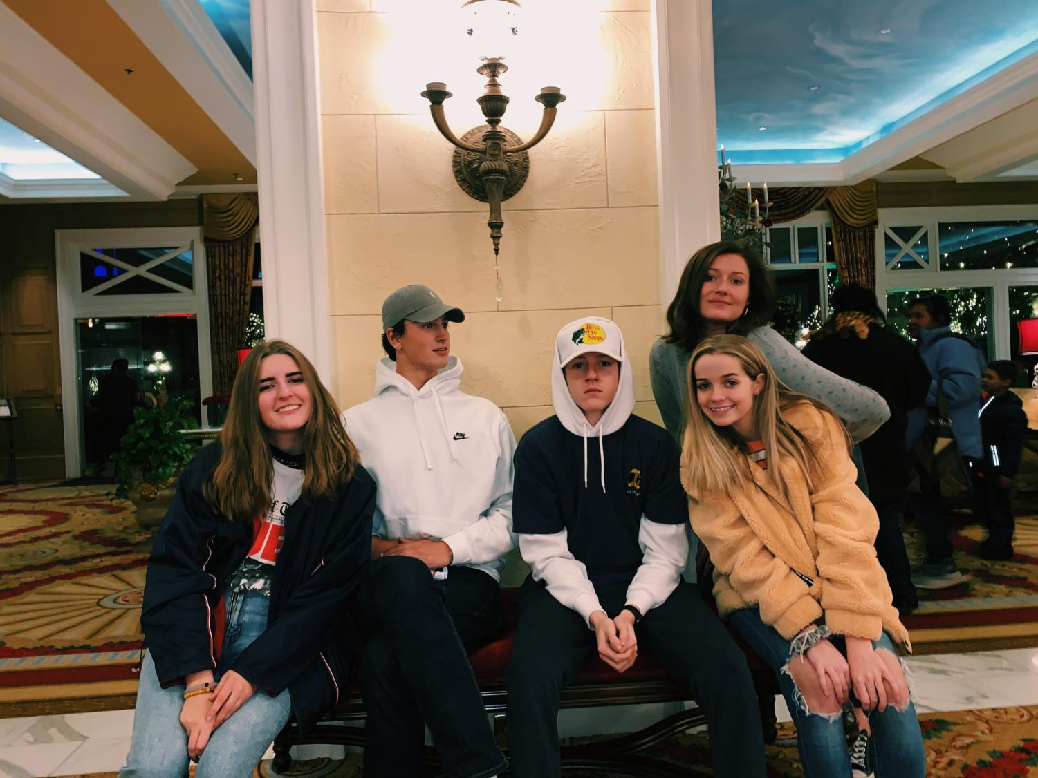 Seniors Callissa Steel, Samuel Jones, Jakob Grebe, Molly Carroll and Acacia Ryska pose at the Broadmoor after looking at the Christmas decorations.