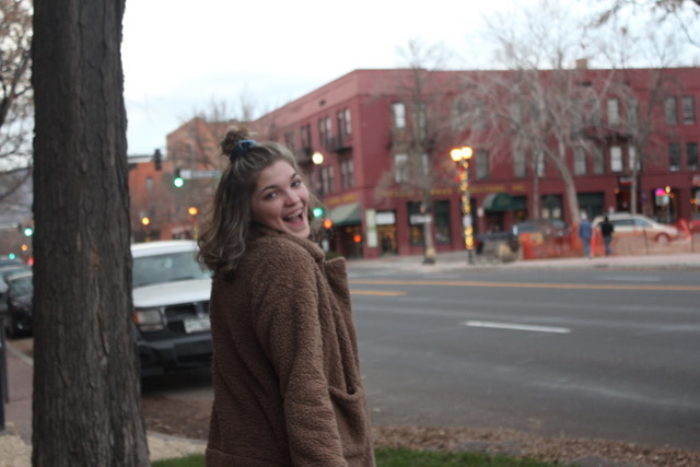 Senior Ruth Evilsizer smiles her way through Old Colorado City.