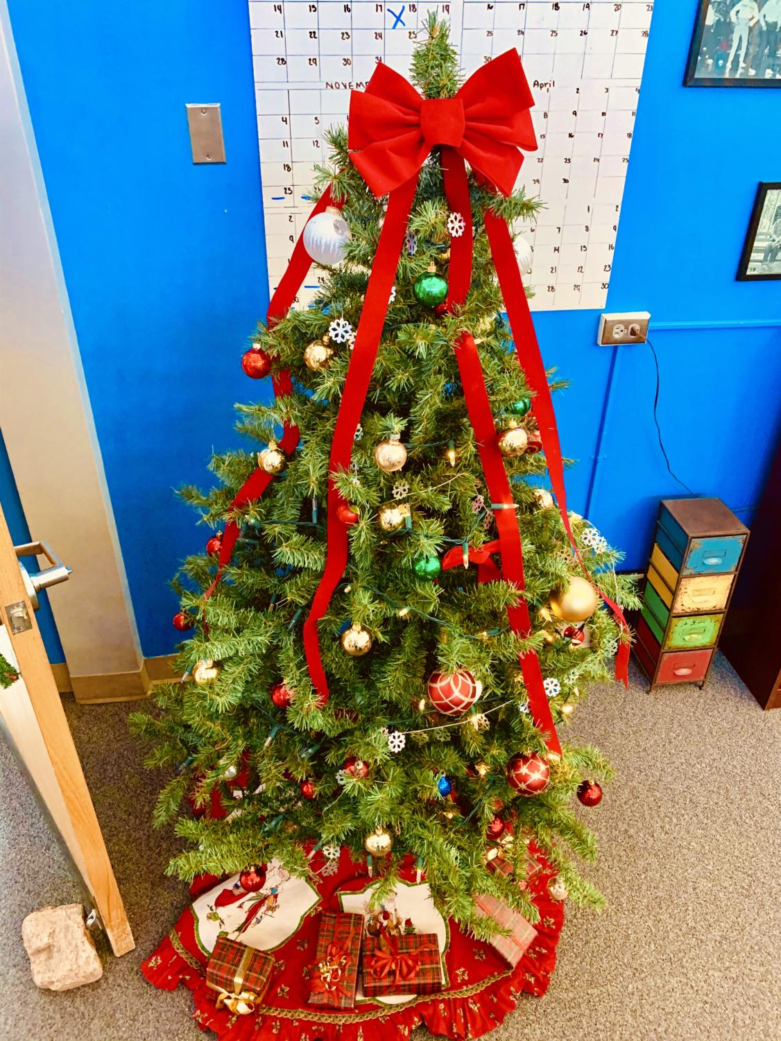 Student services honors a holiday tradition by getting in spirit with a tiny tree.