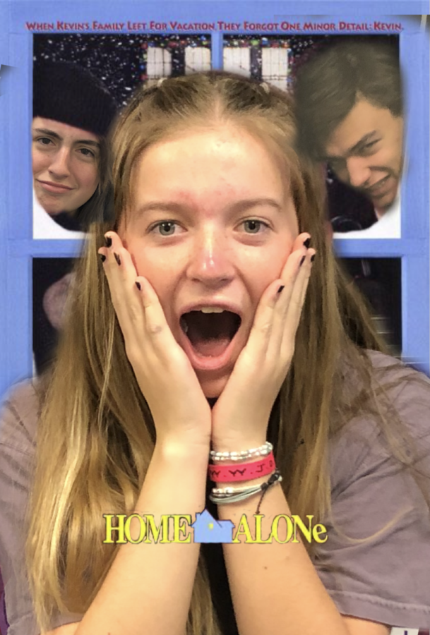 Seniors Kailey Baldwin, Aidan Chesemore and sophomore Bella Ryska are in place of the original actors in the movie poster for Home Alone. Original photo from IMDB.com.