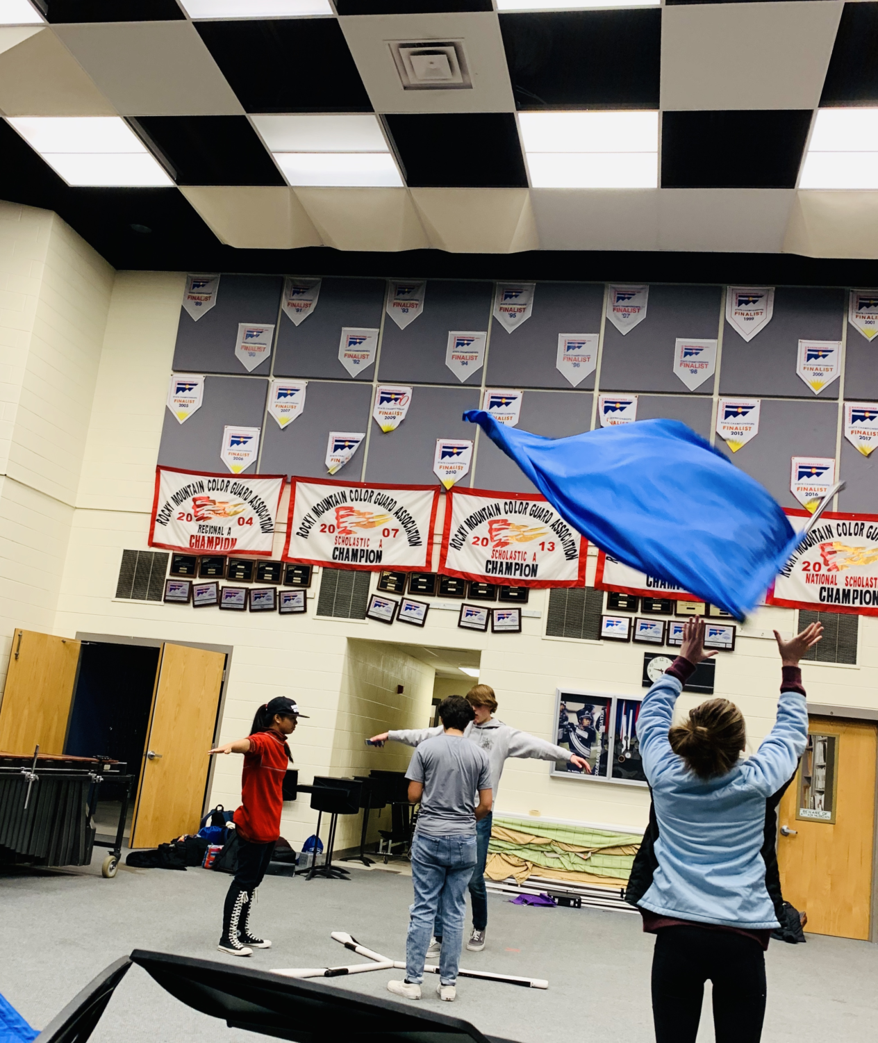 The color guard practices during Kadet Time.