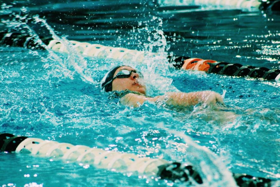Sophomore Mimi Telford races against the clock during the January 15th Air Academy v. Lewis Palmer meet.