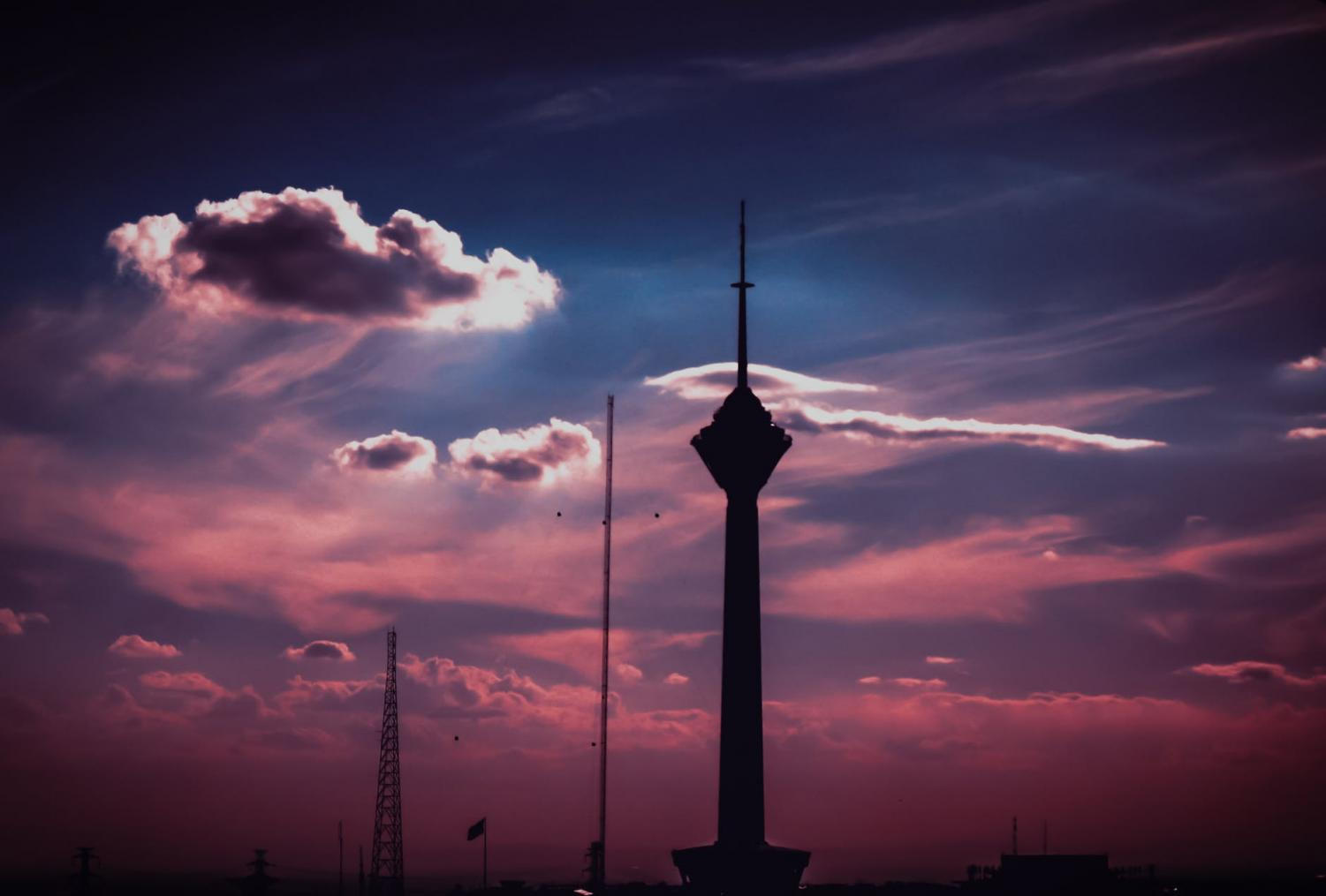 Picture of the Milad Tower in Tehran, Iran during the sunset. Property of Pexels.com.