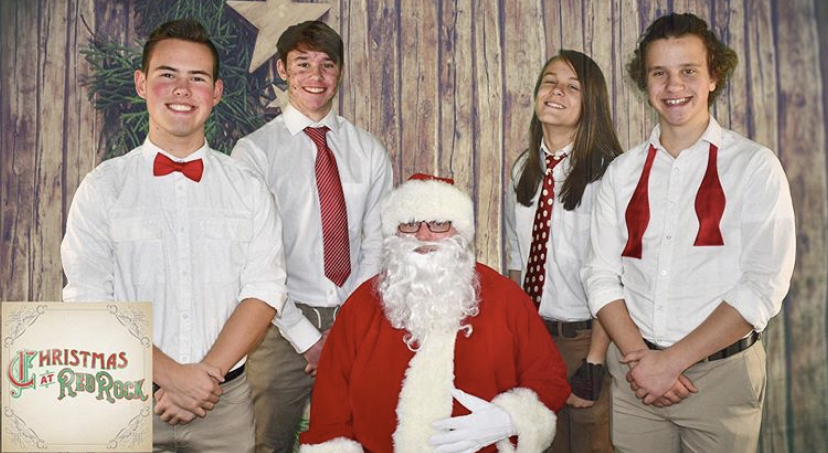Band+members+%28from+left+to+right%29%2C+Ben+Hellem%2C+Brendan+Young%2C+Cohen+Kyle%2C+and+Jackson+Berry+pose+with+Santa+during+the+Christmas+season.