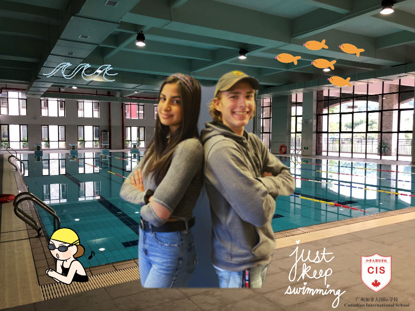 The writers, senior Parmida Mahdavi (L) and junior Alex Maline pose at a photo shopped pool exerting their overwhelming power of swim knowledge.