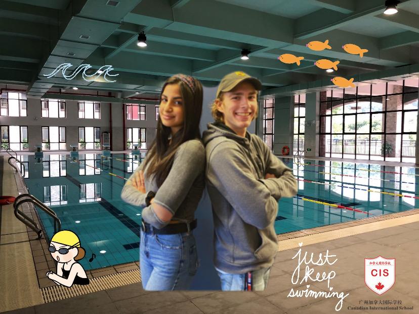 The+writers%2C+senior+Parmida+Mahdavi+%28L%29+and+junior+Alex+Maline+pose+at+a+photo+shopped+pool+exerting+their+overwhelming+power+of+swim+knowledge.++