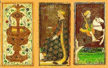 Tarot cards are displayed to show the cards used during the readings. Labeled for reuse by Wikipedia,