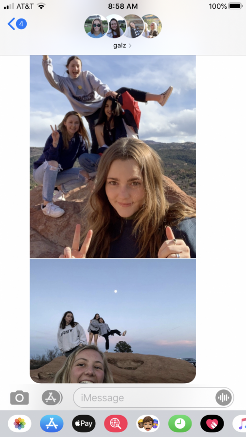A screenshot from seniors Tatum Miller, Megan Lockhart, Campbell Fair, Sydney Pruitt, and Lexi Riehl's groupchat of photos before quarantine.