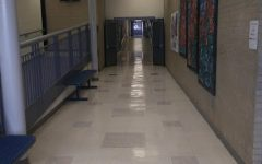 Empty D building art and engineering hallway during a passing period at Air Academy High School.