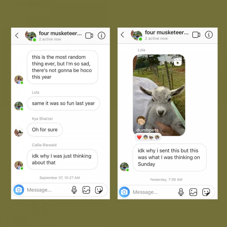 Two screenshots from sophomores Lola Feilke, Callahan Riewald, Kya Shatzer and Elaine Zous group chat. Its helpful to stay in touch with friends, whether to reminisce of better times or simply share uplifting videos.