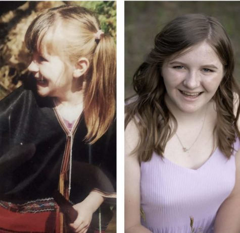 Side by side picture of Emily Nelson. On the left she is 6 years old and on the right she is posing for her senior picture.