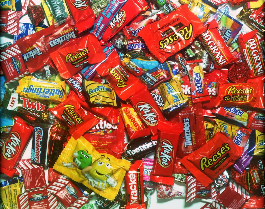 Some of the favorite Halloween candy of Kadets shown in a heaping pile.