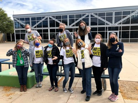 From left to right (front) teachers Emily Doryk, Traci Trimbach, Elise Hatfield, Jill Weis, Mary Anderson, Amy Cofield, Tateum Bowers; (back) David Miles, Dallas Hall, Rachel Cullen participating in the Walk Against Hate.