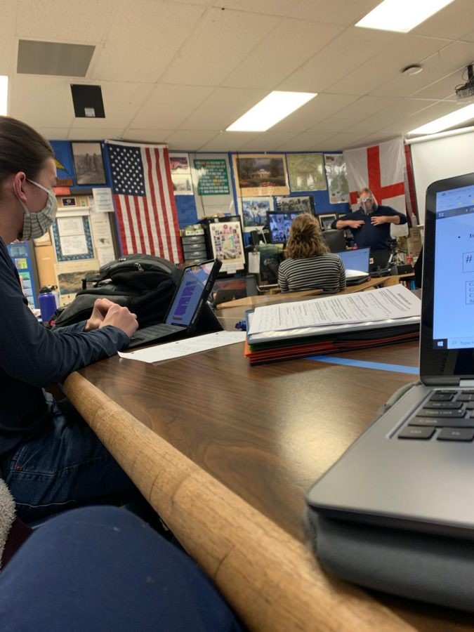 Students enjoy working in-person at Air Academy High School.