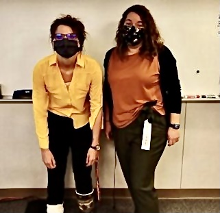 LINK coordinators and AAHS teachers Joann Cassano and Maille O'Neil pose before Halloween in 2020. Photo Credit: aahslink.
