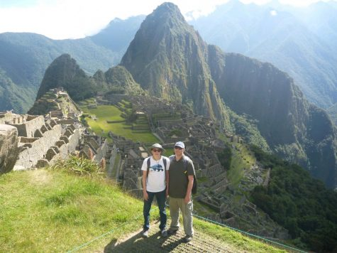 My dad and I pose at the ruins in Machu Picchu.