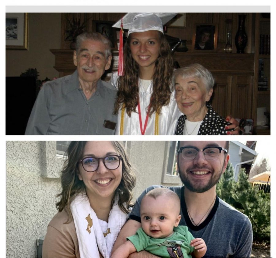 French teacher Natalie Chabot at her high school graduation poses with her grandparents. Underneath, Chabot poses with her husband Ben Honeycutt and their son, Alex Honeycutt.
