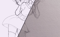 To represent an example, I chose to show two sketches of mine. Both are a sketch of the same character in the same pose, but one side is sketched on paper and the other side is sketched digitally.