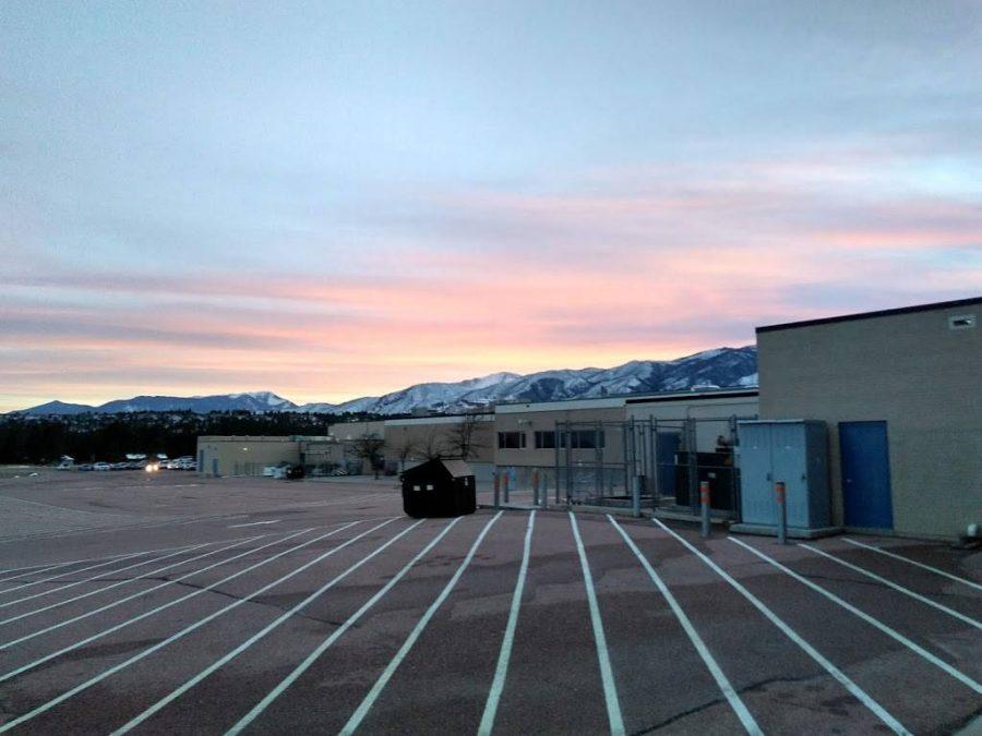 A photo of Air Academy as the sun sets.