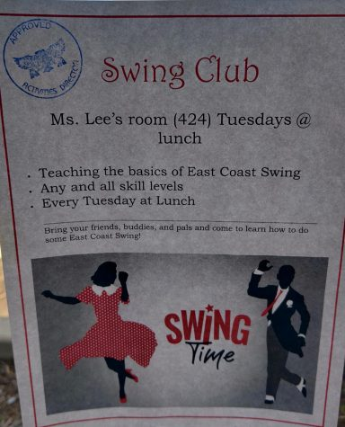 Swing Dance Club poster explaining time, room number, and general information